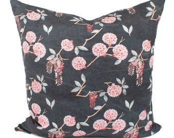 Pink Floral, Printed, Linen, Cotton, Pillow Cover | 12x24, 14x20, 24x24 | 'Stella'