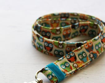 Owls print lanyard - cute lanyard - teachers lanyard - key lanyard - ID badge lanyard - stocking stuffers - owl key fob - lanyards