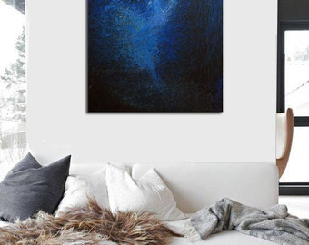 Abstract Art Print, Cobalt Blue Canvas Art Giclee Art Print, Abstract Ballet Art, Ballerina Print of Painting