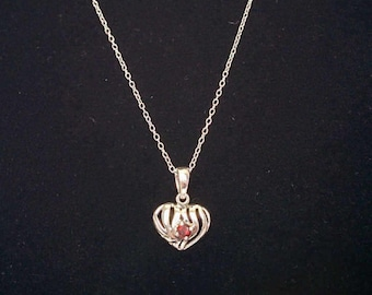 Vintage Sterling Silver Heart Pendant Garnet on Sterling Chain 925 - 18 Inches