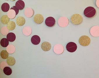 Gold glitter, marsala/burgandy, blush pink 10 circle paper garland, baby shower bridal shower birthday party wedding