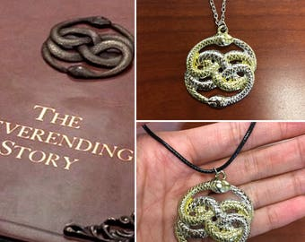 Neverending Story inspired necklace, Neverending Auryn Necklace, Auryn Necklace, NeverEnding Story inspired Necklace, Auryn Snake Necklace