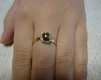 Deep cognac color diamond set with 14k yellow gold ring