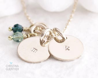 Gold Initial Necklace, Dainty Delicate Gold Hand Stamped Necklace, Handmade Personalized Jewelry, Custom Name Initial, Christina Guenther