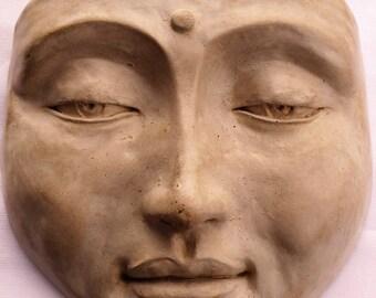 Handmade Zen Buddha Mask, Healing Wall Sculpture, Real Art for Home Decor