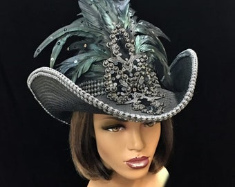 Ten Gallon Cowgirl Hat with Feathers