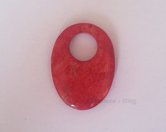 Oval Donut Red Coral Flat Pendant 24x32x2mm