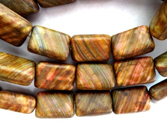15 Rectangle Czech Matte Picasso Earth Tone Beads