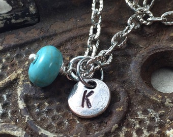 Alphabet Charm Necklace, Initial and Birthstone Necklace, Charm Necklace, Tiny Initial Necklace with Charm Mother's Jewelry Gift for Mom