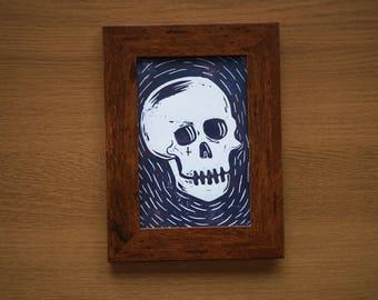 Framed A6 Lino Print - Skull
