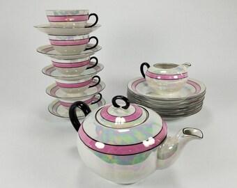 Rare Art Deco Lusterware Tea Set Teapot Creamer Cups Saucers Plates OG Otto Grunert Germany Early 1900s