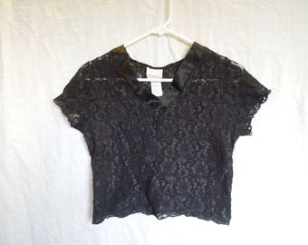 90s Kathy Ireland Black Lace Stretchy Crop Top