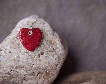 """Red Ceramic Heart Pendant ~ Necklace ~ Jewellery ~ Handmade ~ Sterling Silver ~ 925 ~ 18"""" Chain ~ Gifts for Her"""