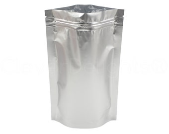 """50 Silver Stand Up Pouches - 8oz - 6"""" x 9"""" x 3"""" - Reclosable Ziplock Bags - Heat Sealable 6x9 Bag - Retail Barrier Pouch Packaging"""
