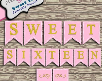 Sweet Sixteen Party Printable Banner Bunting Instant Download PDF