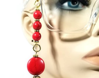 Red Coral Eyeglass Chain. Eyeglass Necklace. Eyeglass Holder. Eyeglass Jewelry. Eyeglass Leash. Spectacles Chain. Eyeglass Accessories.