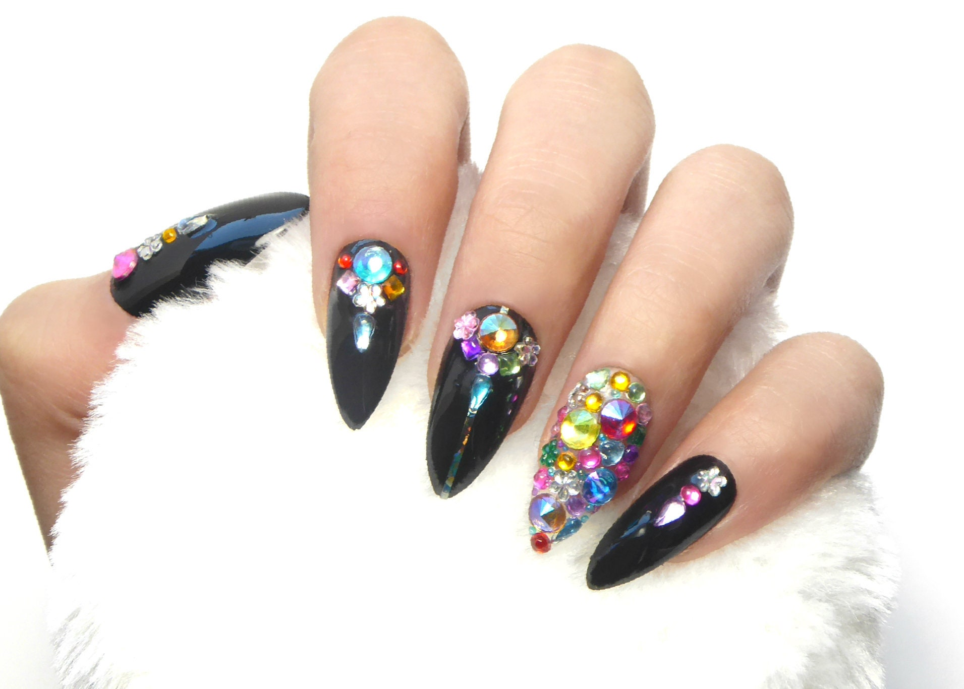 Festival Rainbow Jewelry Nails / Fake nails, press on nails, nail ...