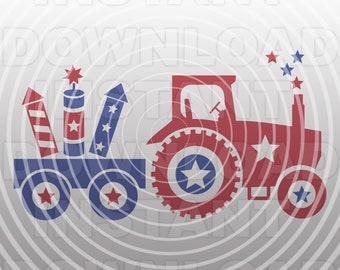 4th of July SVG File,Farm Tractor SVG File,Fireworks SVG,Cut File-Vector Clip Art for Commercial/Personal Use-Cricut,Cameo,Silhouette,Decal