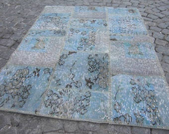 overdyed rug, floor patchwork, rug small overdyed rug,