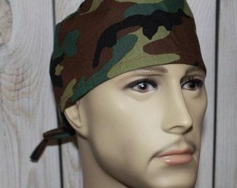 Camouflage,Men's Surgical Scrub Cap,Chemo Cap, Doctor's Scrub Hat,Biker's Hat, Vet, Tech's