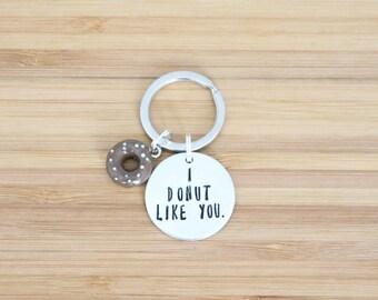 hand stamped keychain   i donut like you