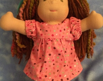 10 inch Waldorf Doll --    Pink Confetti Print Dress with crochet pink shoes-