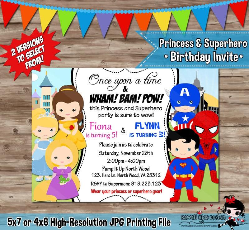 PRINCESS and SUPERHERO Invitation Disney Princess and