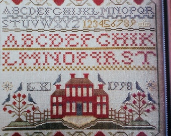Cross Stitch Pattern | Kandace Thomas | SCHOOLHOUSE SAMPLER | Counted Cross Stitch Pattern Chart - fam