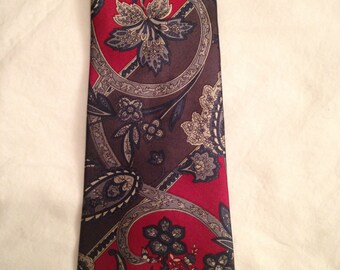 Hagger Neck Tie Scarlet Gray Blue Floral Paisley Ohio State University Sports Fans Faculty Students Alumni TBDBITL Athletes. Rich Colors