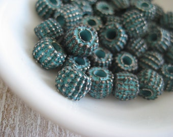 Metal beads Barrel, textured points spacer, puffy rondelle, casting with green patina finish on antiqued copper 8 x 5.5mm(choose qty)8AS0800