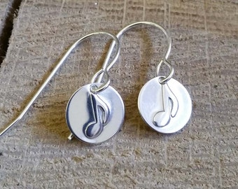 Tiny Music Note Earrings, Music Jewelry, Gifts for Musicians, Music Teacher Gift for Her, Women, Small Silver Music Note Jewelry Graduation