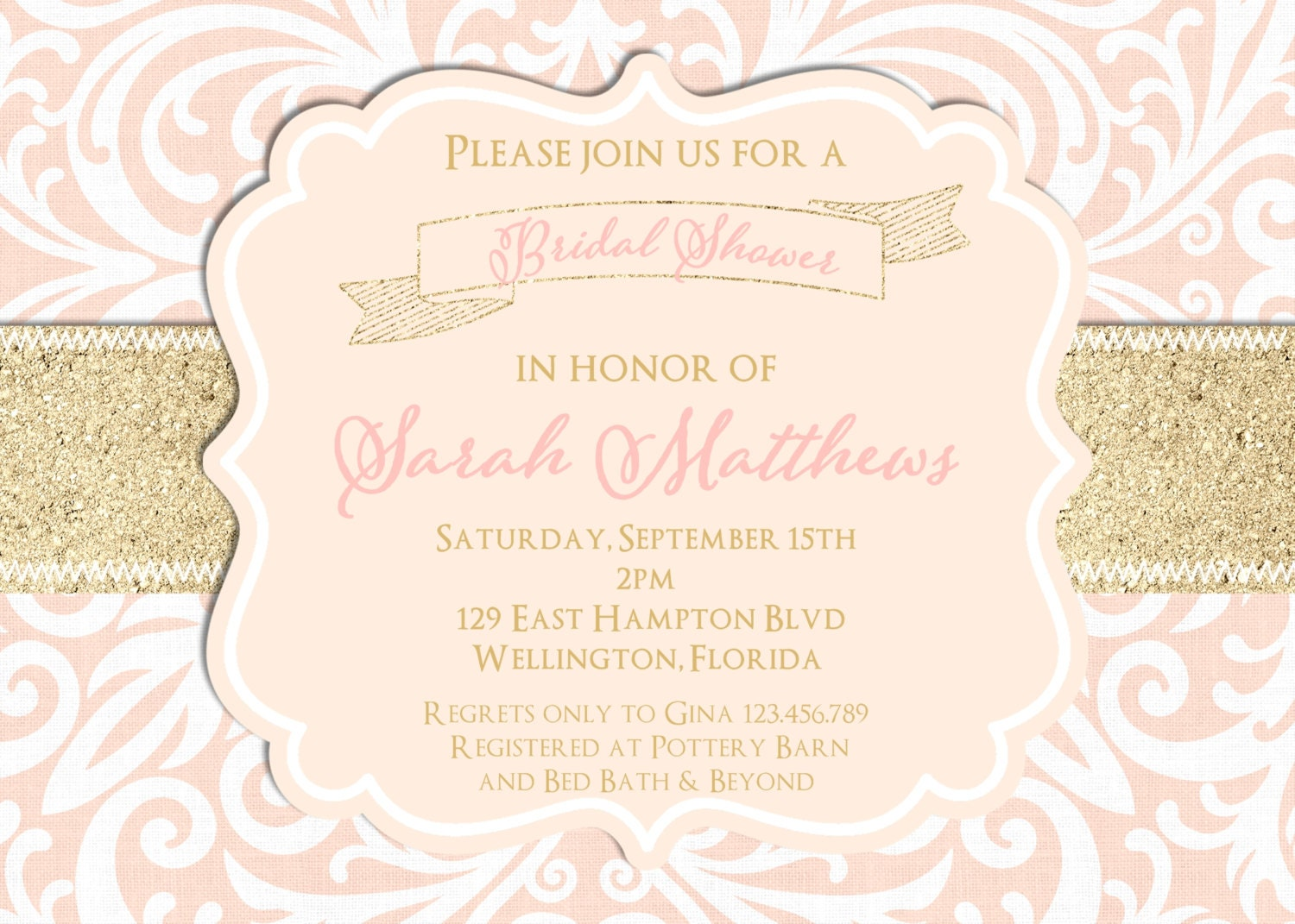 Blush Pink and Gold Glitter Damask Wedding Shower Invitation