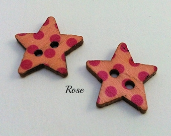 Wood stars, set of 4 buttons