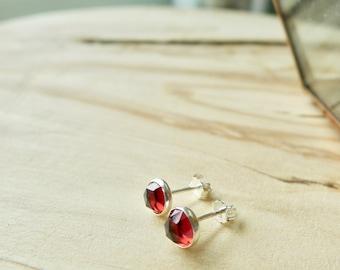 Sterling Silver Garnet Studs, Simple Studs, Wine Garnet, Faceted Stone, Sterling Silver Stud, Garnet Earrings, January Birthstone