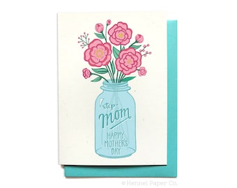 Stepmom Card -  Mothers Day Card floral - Happy Mothers Day Step-Mom - Flowers in Mason Jar - MD11