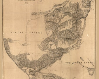 Railroad Survey map 1853 showing various passes across the Sierra Nevada from Walker's Pass to the Coast Range reproduction