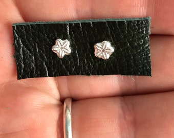 Pure silver fossil crinoid star stud earrings