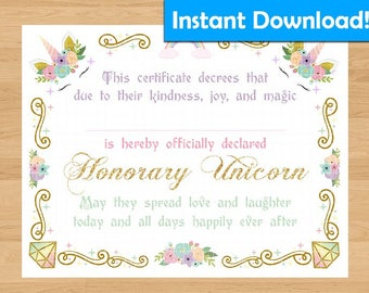 INSTANT DOWNLOAD!  Unicorn Certificate - For Coronation Ceremony, Birthday Gift, Party Favors
