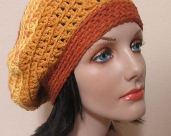 Crochet Slouchy Hat, Gender Neutral Hat, Butterscotch Hat, French Beret, Tam