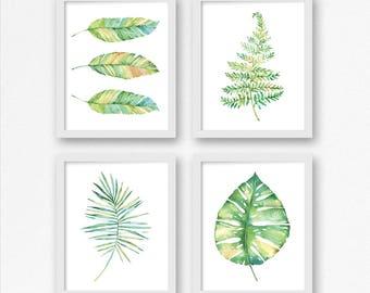 Printable Watercolor Leaves Art Set of 4 / Tropical Leaf Art Prints / 8x10 11x14 / Monstera Leaf Print / Botanical Nursery Office Printable