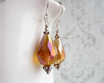 Topaz Crystal Earrings, Teardrop Earrings, Made in Sweden, Swedish Jewelry Design, Made in Sweden, Swedish Wedding Style, Drop Earrings
