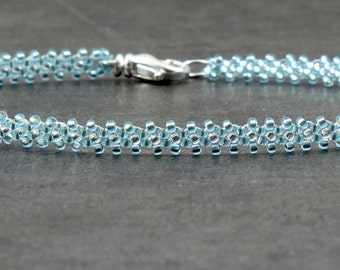 Seed Bead Anklet - Aqua Ankle Bracelet - Beaded Foot Jewelry - Summer Anklet - Beach Jewelry - Gift for Her - Dainty Anklet