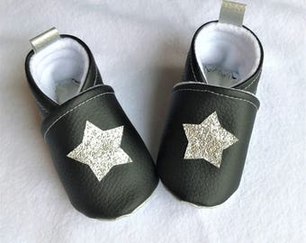Baby soft slippers, imitation leather and fleece, from birth to size 36