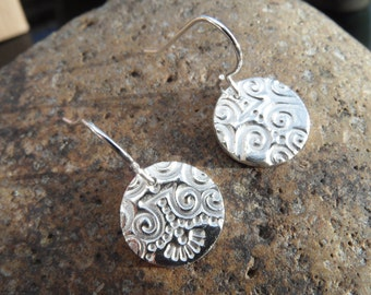 Fine Silver ethnic patterned circular drop earrings  Available for immediate dispatch!  Ideal for Mother's Day!