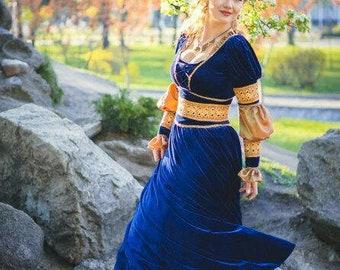 Renaissance dress blue velvet romantic gown festival costume embroidered laces Juliet dress LARP outfit themed wedding ren fair