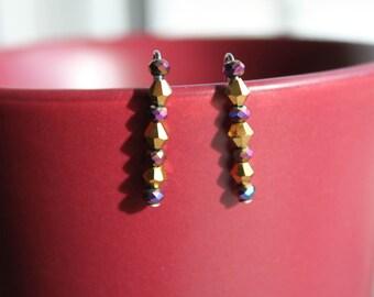 Metallic Purple and Gold Ear Climbers