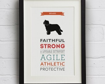 Briard Dog Breed Traits Print