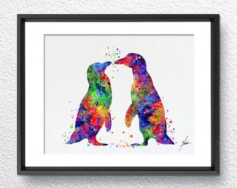 Penguin Watercolor Illustrations Art Print Poster Handmade Wall Decor Art Home Decor Wall Hanging aum om Item 316