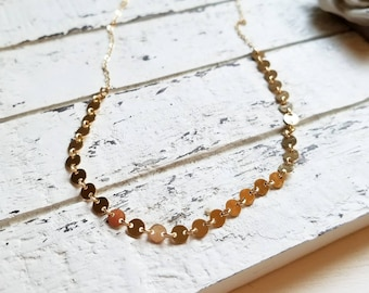 Dainty Sequin Coin Necklace, Sparkly Disc Chain Necklace, Gold Tattoo Choker, Layering Necklace / Yellow Gold, Rose Gold, Sterling Silver