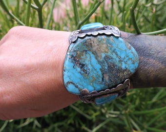 Mega Morenci Cuff. Repurposed vintage sterling silver watch cuff with Morenci Turquoise. Unisex, Masculine cuff bracelet. Collector piece.